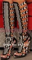 2014 New Knee high gladiator sandals for women designer novelty shoes brand summer boots high heel fashion sandals for ladies