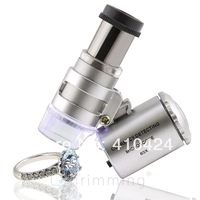 60x LED Lighted Magnifier Jewelers Loupe Loop Glass Microscope