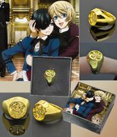 Black butler Kuroshitsuji Ciel Phantomhive Cosplay Ring Gold