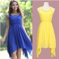 2014 Spring and Summer fashion Irregular beaded chiffon dress, plus size S -- XXXL women sexy dress,necklace girls dress
