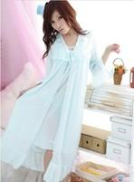 Summer viscose women's sexy spaghetti strap medium-long plus size nightgown temptation twinset lounge sleepwear