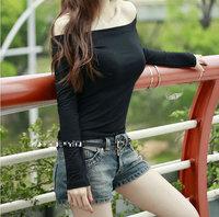 Spring 2014 New Fashion Women Shirt,Sexy Slash Neck Women Blouses,Slim Shirt Women