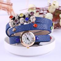 New women's belt watches, diamond-encrusted skull rhinestone bracelet women dress watch hot X-002
