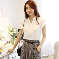 2014 summer V neck loose plus size chiffon shirt female basic shirts office lady short sleeve shirt slim top