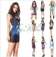 2014 Spring Summer Autumn New women Sey Club Vest Inner Dress Dresses Halter Mini 10 Pattern Skull Elastic Free Shipping JL