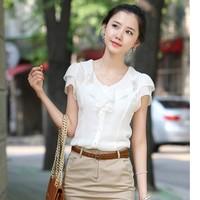 2014 summer women loose plus size ruffle chiffon shirts female basic shirt short sleeve shirt slim top office lady blouses