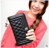 2014 new small fragrant wallet Long Ling grid stria goatskin Women Handbag Purse