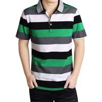 Striped Cotton Short-sleeved  T-shirt Men Short  POLO Shirt Summer Male Loose Casual T Shirt Plus Size