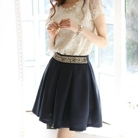 Free Shipping Women's Summer Autumn Skirts 2014 Fashion Elegant OL Pearl Beading High Waist Pleated A-line Bust Skirt #02556