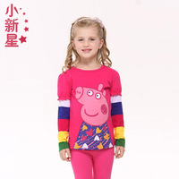 New star 2014 child all-match 100% cotton long-sleeve T-shirt female child cartoon spring and autumn basic shirt