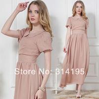high quality 2014 spring and summer women chiffon silk brief dress puff short sleeve expansion bottom vintage long dress 86016
