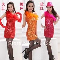 2014 cars costume dance clothes paillette one-piece dress oblique feather paillette dress