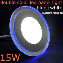 10pcs/lot,DHL/EMS, 15W round shape AC85-265V double color (blue+white) synchronous Acrylic+glass SMD3528 led panel kitchen light(China (Mainland))