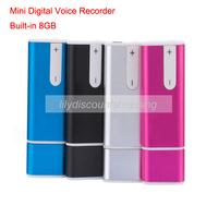Hot sale Rechargable Mini USB Digital Audio Voice Recorder Dictaphone Portable U disk shape Built-in 8GB Wholesale 5pcs/lot
