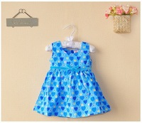 Retail 100% cotton baby girl's vest princess dresses new 2014 summer carters blue love-heart bowknot kids dress baby clothes