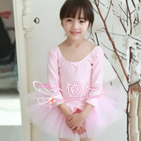 10pcs Spring and summer child ballet skirt dance clothes female child leotard long-sleeve cotton princess dress costume buckle