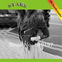 Fashion women's top 2014 spring korean rock style Motorcycle Punk PU Leather Jacket coat women,casacos femininos + free shipping