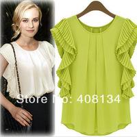 Free shipping  Women Chiffon Top and tees  Spring Summer Blouses Womens  Short Sleeved Chiffon Shirts Blouses,Women's Clothing