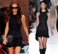 2014 spring and summer fashion victoria slim design pressure pleated short little black dress one-piece dress