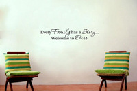 Every Family has a Story Welcome  - Say Quote Word Lettering Art Vinyl Sticker Decal Home Decor Words