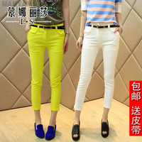 Spring and summer women's trousers elastic slim casual pants female skinny pants 9 roll-up hem