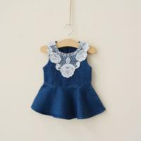 Y New Arrival 2014 Summer Baby Girls Dresses Denim Patchwork Lace Girls Pirncess Dress Sleeveless Girls Clothing