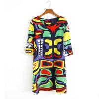 Summer Womens Dress Shirt plus size desigual Print Casual Plus Big Size XXXL brand tunic Chiffon dress vestidos de fiesta Dreess