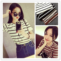 British style women's short-sleeve T-shirt 2014 female summer brief stripe o-neck clothes basic shirt female