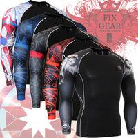 Free shipping Sports t-shirt quick-drying shaper male long-sleeve straitest combination Cool men's sport t shirt XXXL