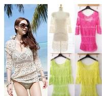 New Womens Bathing Suit Sexy Lace Crochet Bikini Swimwear Cover Up Beach Dress free shipping