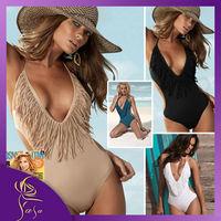 Fashion Padded Boho Fringe Deep V Neck Victoria Bandeau, Swimming Suit Swimwear One Piece Biquinis Women On Sale