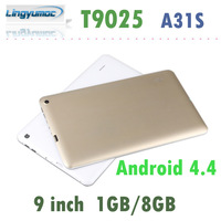 New arrival Allwinner A31S Quad core 9 inch Tablet pc Android 4.4 Kitkat  dual camera 1GB/8GB 800x480 T9025