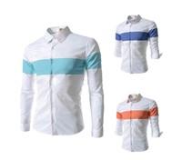Free shipping!  fashion color matching men slim long sleeve shirts, casual  men's long sleeve shirts