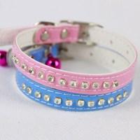 Dog collar teddy vip deer dogs collar rhinestone pink purple pet supplies