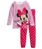 pink polka dot baby girl cartoon minnie pijamas  long sleeve clothing set children cotton pajamas set kids cute pijama for girl