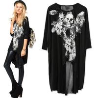 2013 hip-hop women's big fashion personality punk skull long dovetail design casual T-shirt