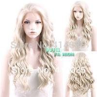 "24"" Heat Resistant Long Curly Wavy Light Ash Blonde Front Hair Wig brazilian Hair Kanekalon lace Wigs Shipping free"