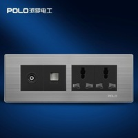 Free Shipping, POLO luxury wall socket panel,110~250V,6-hole TV/computer Multifunction socket, power electrical outlet