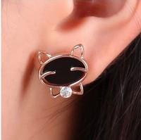 2014 New Fashion Jewelry women Stud Earrings Korean style Mosaic Cat Acrylic Earrings  gold Plated Wholesale