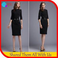 2014 Promotion Plus Size New Fashion Women's Blace Sexy Bodycon Career Dresses Brand Zipper Half Sleeve Novelty A-line Vestidos