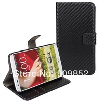 For LG G2 leather Case,Carbon fiber wallet leather Case For LG G2 ,MOQ 1PCS Free Shipping