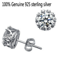 Wholesale Genuine 925 sterling silver crystal fashion earrings wedding jewelry for women or men 4L314
