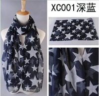 Men's Scarfs Cotton Brand Hijab Echarpe Foulard Bufandas FivePointed Star print scarf 14 fashion Women Voile Shawl Scarves Wraps