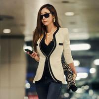 2014 New Brazers Classic OL Black & White Deep V-neck Brand Suit Jacket Plus size Shoulder Pads Womens Blazer SH