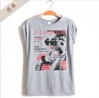 Hot!New 2014 Fashion Good Quality dacron O-neck short-sleeve T Shirt Women Printed Tops Round T-shirts tee shirts Dropshipping
