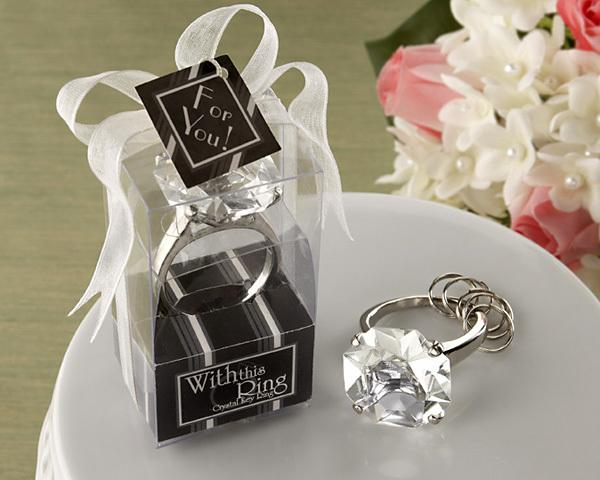 Beautiful Color Crystal Diamond Ring Lovely Souvenir Key Chain Wedding Gift 10pcs/lot SH404(China (Mainland))