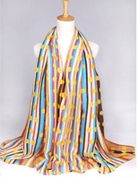 dot and stripe scarf New 2014 Fashion Women Long Voile Tribal Aztec Printed silk Scarf Shawl Muslim Hijab autumn-winter,Free