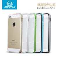 HK Post Free Ship ROCK dual-color Slim Guard series TPU + PU Bumper for iPhone 5S retail box