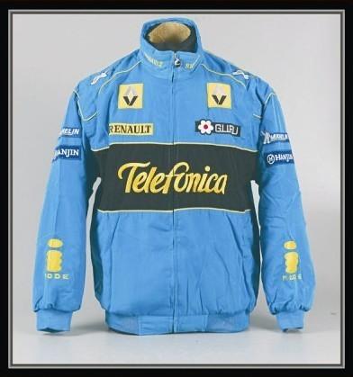 Jaqueta carro roupas F1 automóvel raça renault outerwear de manga comprida de algodão acolchoado jaqueta de trincheira cheia bordado A087(China (Mainland))