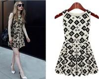 2014 New Women Sleeveless Dress O-Neck Casual Knee-Length Dresses Med-Long Design Chiffon Dress S,M,L,XL 7591